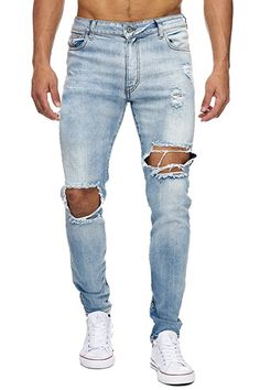 EightyFive Stone Herren Denim Destroyed Jeans-Hose Slim Fit Basic Blau EFJ160, Farbe:Blau, Hosengröße:W31 L32