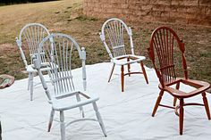 Spray painting wood chairs