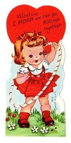 Girl Plays with Hula Hoop Lets Go Round Together Vintage Unused Valentine Card | eBay