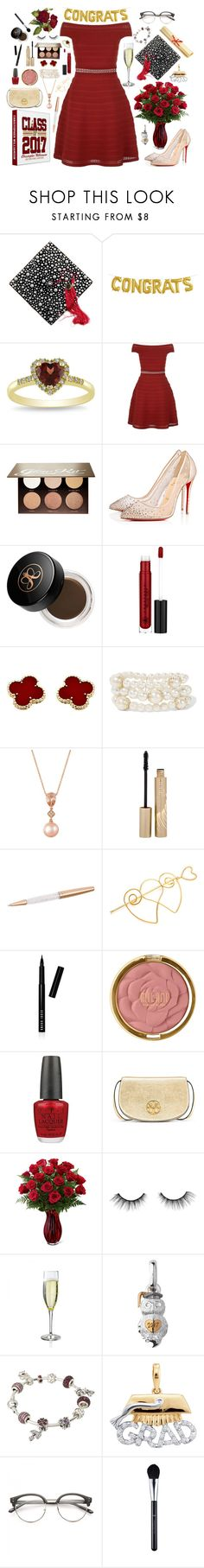 """""""Graduation Party"""" by hanolaughter ❤ liked on Polyvore featuring Miadora, Sandro, Anastasia Beverly Hills, Christian Louboutin, Van Cleef & Arpels, Kenneth Jay Lane, LE VIAN, Stila, Swarovski and Bobbi Brown Cosmetics"""