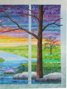 Living Water - Progress is being made though slowly! As you can see, I've made the big trees. If I decide to add a border, this dusky blue...