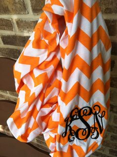 Monogrammed Chevron Infinity Scarf- Tennessee Vols-Alabama Roll Tide- Personalized Game Day Tailgate  Accessories- Chevron Scarf
