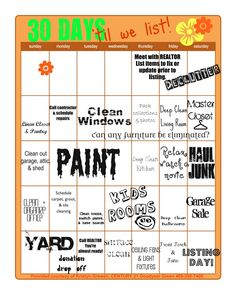 Free Printable task calendar for the month before listing a house for sale
