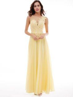 Scoop Neckline Appliques Lace-Up A-Line Evening Dress