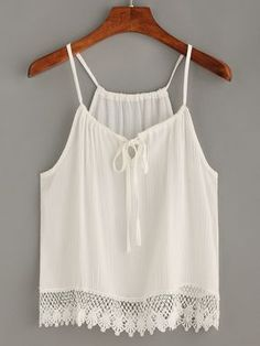 White Scalloped Crochet Trimmed Cami Top — € ---------------color: White size: one-size Ensembles Outfit, White Cami Tops, White Tank, White White, Girl Fashion, Fashion Outfits, Fashion Design, Fashion Black, Fashion Ideas