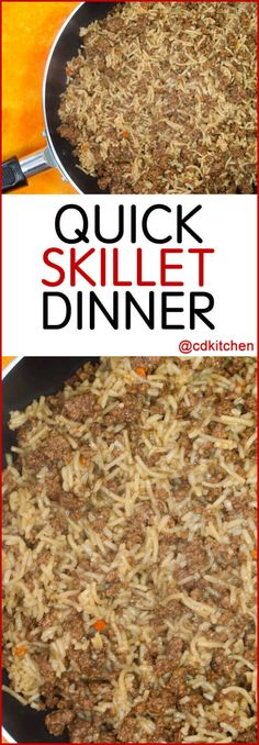 beef and rice Quick Skillet Dinner - Make a quick and easy skillet meal starting with a package of beef flavored pasta mix. Simply add ground beef and simmer. Made with ground beef, beef Hamburger Meat Recipes Easy, Ground Beef Recipes Easy, Hamburger Dishes, Ground Beef Rice, Beef And Rice, Ground Meat, Dinner Recipes Easy Quick, Quick Easy Meals, Easy Dinners