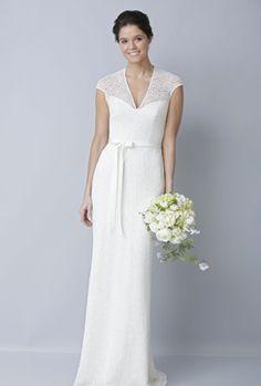 Sencillo vestido de novia con escote en V y mangas cortas de Theia colección Primavera – Verano 2013
