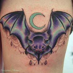 Bat and moon tattoo by Georgina at Intense Colours Studio, Bitterne, Southampton, UK