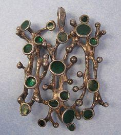 Silver and Enamel Biomorphic Pendant, c. 1965