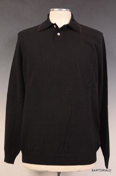 "KITON ""CIPA"" Black Merino ""Superfine 160"" Wool Polo Sweater 50 NEW M NEW"
