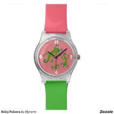 Reloj de pulsera. Producto disponible en tienda Zazzle. Accesorios, moda. Product available in Zazzle store. Fashion Accessories. Regalos, Gifts. Link to product: http://www.zazzle.com/clock_bracelet_watch-256302183987163168?CMPN=shareicon&lang=en&social=true&rf=238167879144476949 #reloj #watch #lagarto #lizard