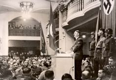 Hitler speaks at the Bürgerbraükeller on 8-11-1939, behind him Grimmiger with the Blutfahne, I can see Max Wunche in the audience and I think the Nazi brass is up on the balcony.