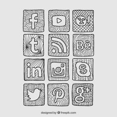 Discover thousands of free-copyright vectors on Freepik Tumblr Drawings, Tumblr Sketches, Easy Drawings, Note Doodles, Bujo Doodles, Social Network Icons, Social Networks, Social Media Art, Bullet Journal Notes