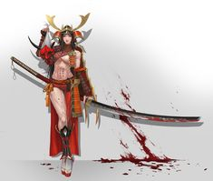 Demon Hunter (鬼ころし) (BATTLE MODE) She became the same red color as the devil to kill the demon. Two large katana(長巻-Nagamaki) are used for hunting. ART by Choong Yeol Lee Concept Artist Anime Warrior, Fantasy Warrior, Fantasy Rpg, Fantasy Girl, Dark Fantasy, Female Character Design, Character Concept, Character Art, Character Illustration