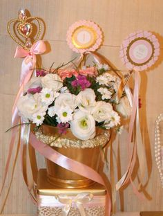 Flowers at a Princess Sofia birthday party! See more party planning ideas at CatchMyParty.com!