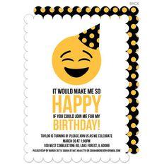 Black So Happy Emoji Birthday Invitations