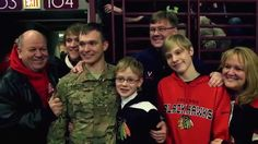 Soldier surprises family at Blackhawks game