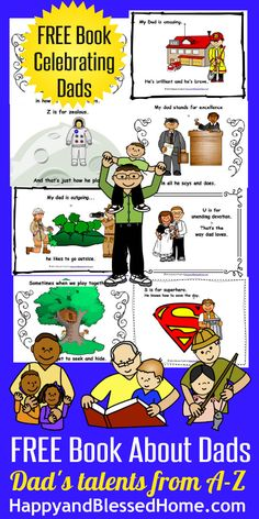 FREE Fathers Day Book - warm and friendly graphics and easy to follow rhyme all about Dad's talents from A-Z from HappyandBlessedHome.com #FREEbook #FathersDay #PreschoolActivities