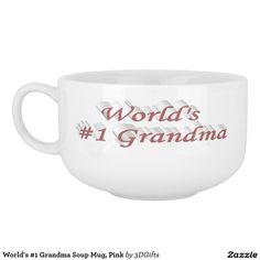 World's #1 Grandma Soup Mug, Pink Soup Mug