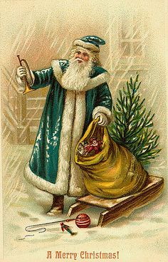 Vintage Christmas/Santa Claus Postcard by Suzee Que, via Flickr* Merry Xmas to all Pinterest friends my Xmas gift to you  1500 free paper dolls at The International Paper Doll Society also gift of free paper dolls at The China Adventures of Arielle Gabriel *