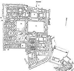 Planta del Palacio de Zimri-Lin de Mari (S.XVIII a.C.). La arquitectura palacial en estos momentos toma gran importancia. Mari se ubicaba en un lugar estratégico, en la ruta de intercambio entre Siria, Egipto y el Mediterráneo. Estos pueblos influiran en su arte y su máximo exponente, el palacio. Residencias reales que eran concebidas como verdaderas ciudades-palacio que son las que sentaran las bases de la arquitectura palacial de babilonia, asiria y persia.