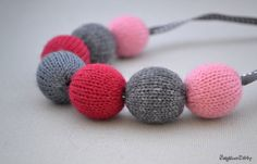 Knit beaded necklace  - Knitted jewelry -  Wood bead jewelry