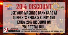 Qureshi's Kebab & Kurry Set in an exotic ambiance, The rich cuisine and live ghazal performances create an aura reminiscent of the opulent Indian royalty. You can now enjoy 20% discount on your total bill by using your @mashreqbank card. Download GL Deals app now to get more access on offers! http://www.gldeals.com/myapp  #QuereshiKebab&Kurry #IndianFood #PakistaniFood #NorthIndianFood #IndianuCuisine #MashreqBank #App #MobileApp #AndroidApp #iOSApp