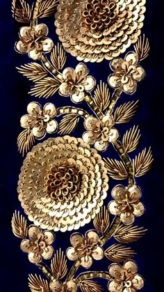 blue embroidery close up - Zardosi embroidery - Zardozi Embroidery, Tambour Embroidery, Hand Work Embroidery, Couture Embroidery, Gold Embroidery, Embroidery Fashion, Hand Embroidery Designs, Embroidery Stitches, Wedding Embroidery