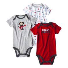 Just One You™ by Carter's® Infant Boys' 3-Pack Bodysuit - Heather Grey/Red