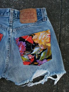 Floral Fabric infused Vintage Levis Cutoffs.