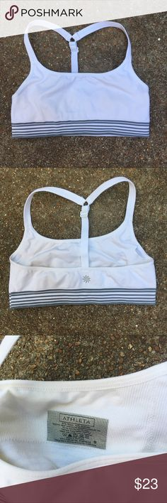 White Athleta Sports Bra Small Excellent condition. Slots for padded inserts but they are not included. Lulu will give you them free!  This is super stretchy nylon and very comfy. Athleta Intimates & Sleepwear Bras