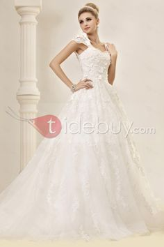 A-line/princess lace capped sleeves wedding dress - like this design