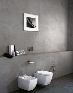 """Fugenloser Lehmputz """"Terra Plus"""" für Wand und Boden. Für Feuchträume geeignet. Die Badmöbel sind übrigens von der Firma Agapedesign aus Mantova Italien"""