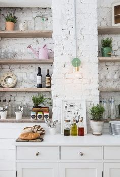 dream kitchen: Hally's Parsons Green, open storage wood shelves against painted white brick walls Kitchen Interior, Kitchen Decor, Rustic Kitchen, Kitchen Brick, Kitchen White, Kitchen Walls, Kitchen Shelves, Eclectic Kitchen, Café Interior