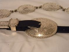 Tony Lama Women's Black Leather Silver Metal Concho Western Belt Size 30 #TonyLama #ConchoBelt