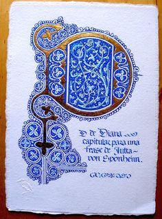 D de Diana. Mayúscula para un texto de Jutta von Sponheim.