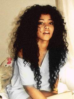 Long hair loose curls natural black woman lady girl