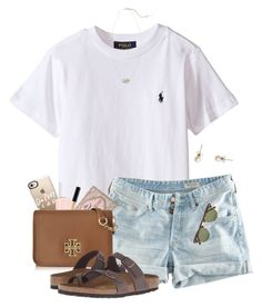 monday stroll by gabyleoni on Polyvore featuring polyvore, moda, style, H&M, Birkenstock, Tory Burch, J.Crew, Kendra Scott, Casetify, Ray-Ban, Too Faced Cosmetics, Maybelline, Essie, fashion and clothing