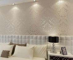 CREAM WHITE Papel Luxury Vintage Europeia parede damasco PVC em relevo Papel de…