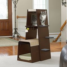 2 Piece Interactive Cat Tower With Memory Foam Available Now On Coolkittycondos Playhouse