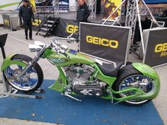 Geico lizard bike. Paul jr designs Geico Lizard, Daytona Beach Bike Week, Chopper, Motorbikes, Harley Davidson, Jr, Motorcycle, Vehicles, Design