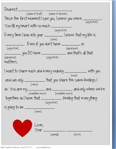 Sweet Floweret: Free Valentine Mad Lib Printable