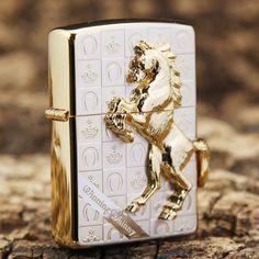 Japanese Plated Golden 3D Marble Horse Zippo Lighter
