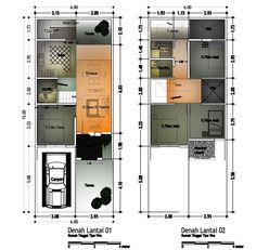 Ukuran denah rumah type 60 minimalis