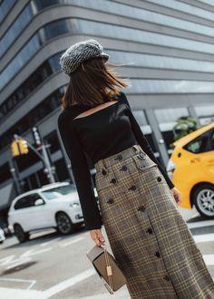 Make The Dream Skirt - http://tsangtastic.com   Instagram @tsangtastic Glen Plaid Midi Skirt, Tweed Paper Boy Hat, Fashion Week Style