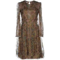 Valentino Short Dress ($2,370) ❤ liked on Polyvore featuring dresses, khaki, long-sleeve mini dress, trapeze dress, short brown dress, long sleeve dresses and pocket dress