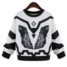 Chic Jewel Neck Long Sleeve Geometrical Pattern Women's Sweatshirt