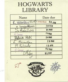 Hogwarts Library. I like how Hermione checked it out twice, and Ron was overdue =]]