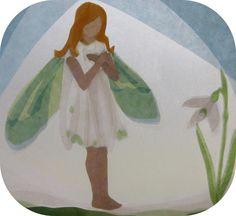 Handgemachte Foto-Grußkarte mit Umschlag. Foto ist von einer ursprünglichen Fensterbild mit die Schneeglöckchen Fee von Cicely Mary Barker. Das beigefügte Foto zeigt nur das Design, das auf Weiß /...