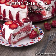 Strawberry Cake (looks yummy!) 1 package white cake mix (regular size) 1 package (3 ounces) strawberry gelatin 1 cup water 1/2 cup canola oil 4 egg whites 1/2 cup mashed unsweetened strawberries Frosting 1 cup heavy cream, 1 cup confectioners sugar  2 cups fresh strawberries, sliced or halved